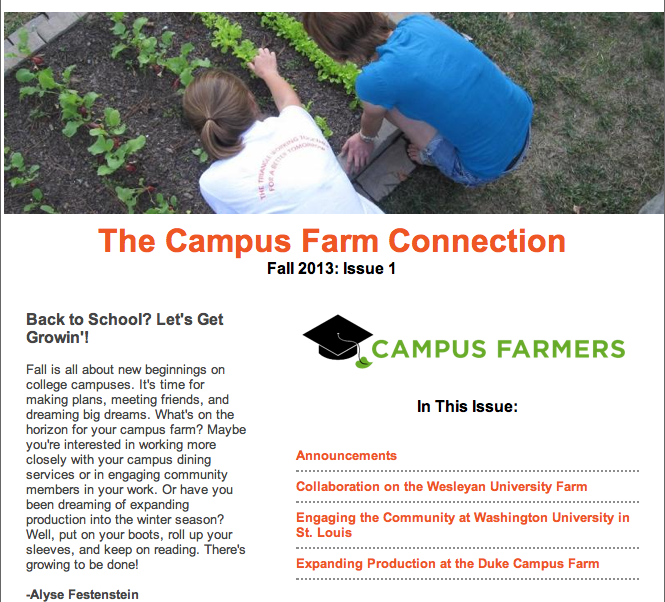Campus Farmers E-Newsletter